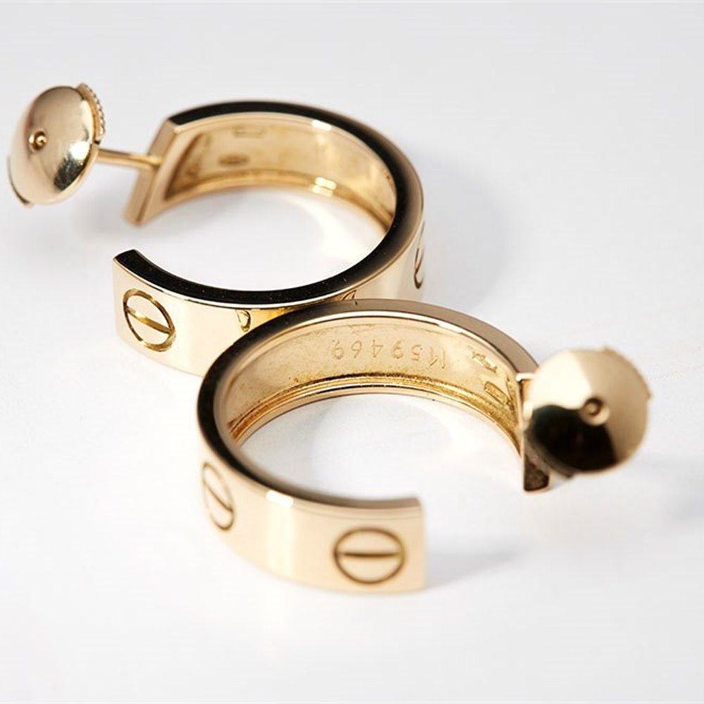 Cartier 18k Yellow Gold Love Earrings