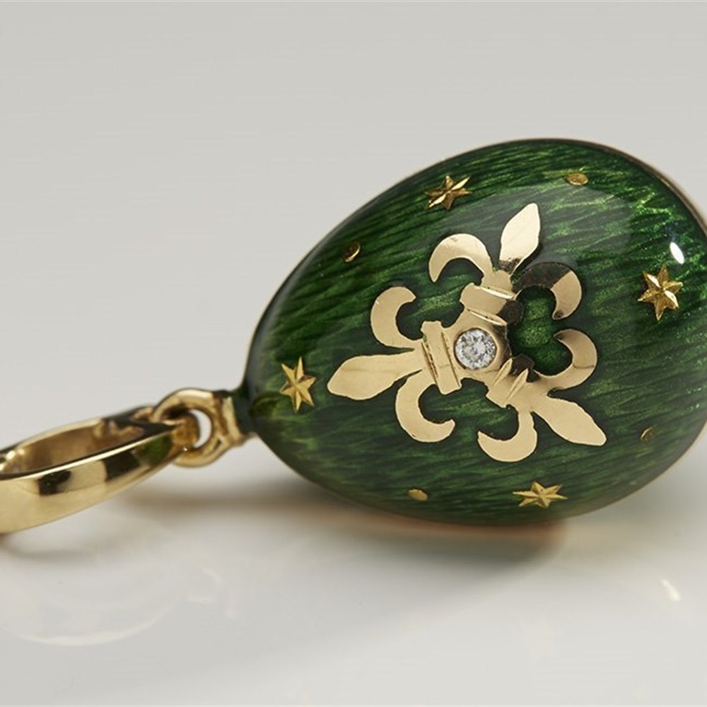 Faberge 18k Yellow Gold Fleur-de-lis Green Enamel Diamond Egg Pendant