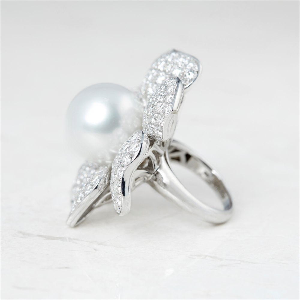 Picchiotti 18k White Gold South Sea Pearl & Diamond Flower Design Cocktail Ring