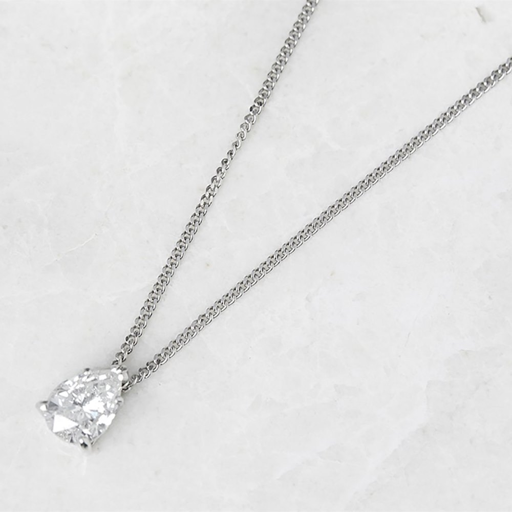 18k White Gold, total weight - 2.52 grams  18k White Gold Pear Cut 1.05ct Diamond Necklace