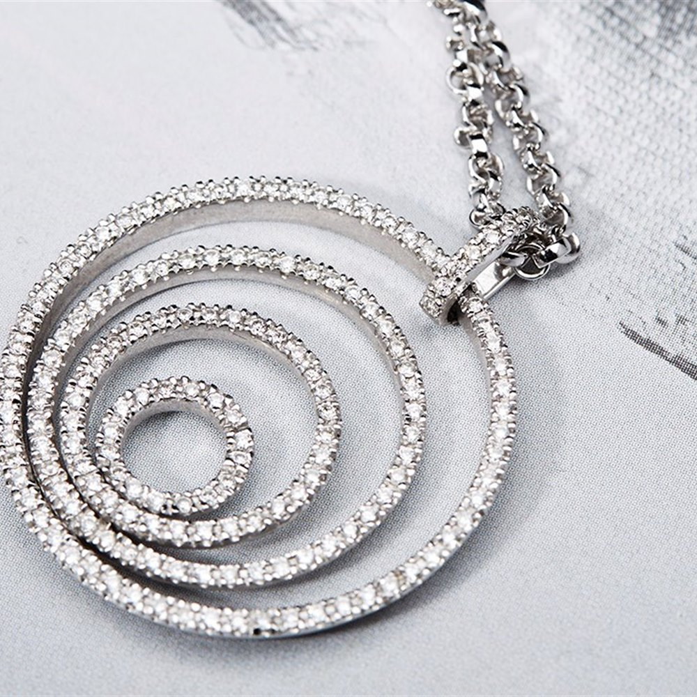 18K White Gold 18k White Gold Diamond 1.04cts VS1 H Concentric Pendant