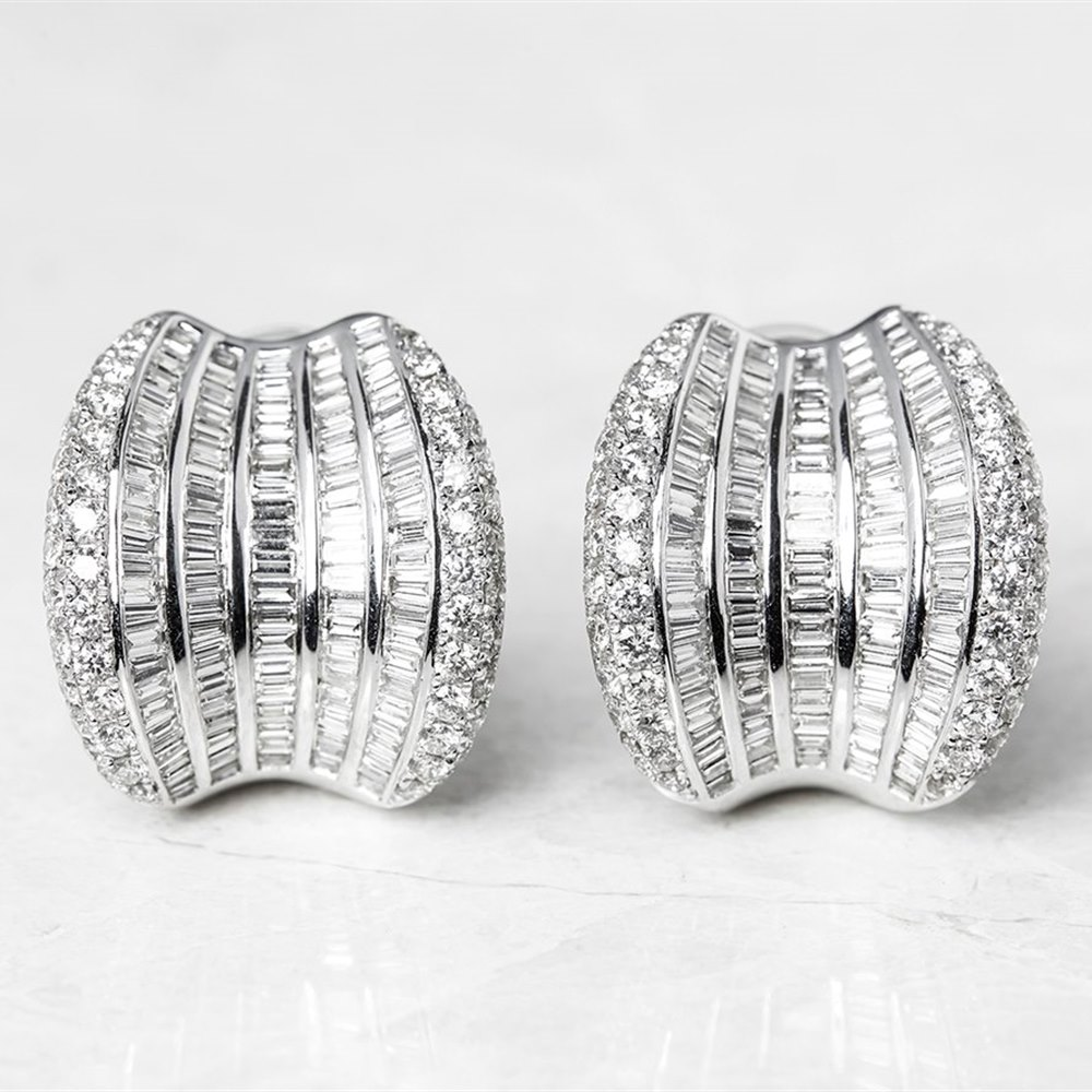 18k White Gold, total weight - 22.55 grams 18k White Gold 12.00ct Baguette & Round Cut Diamond Earrings