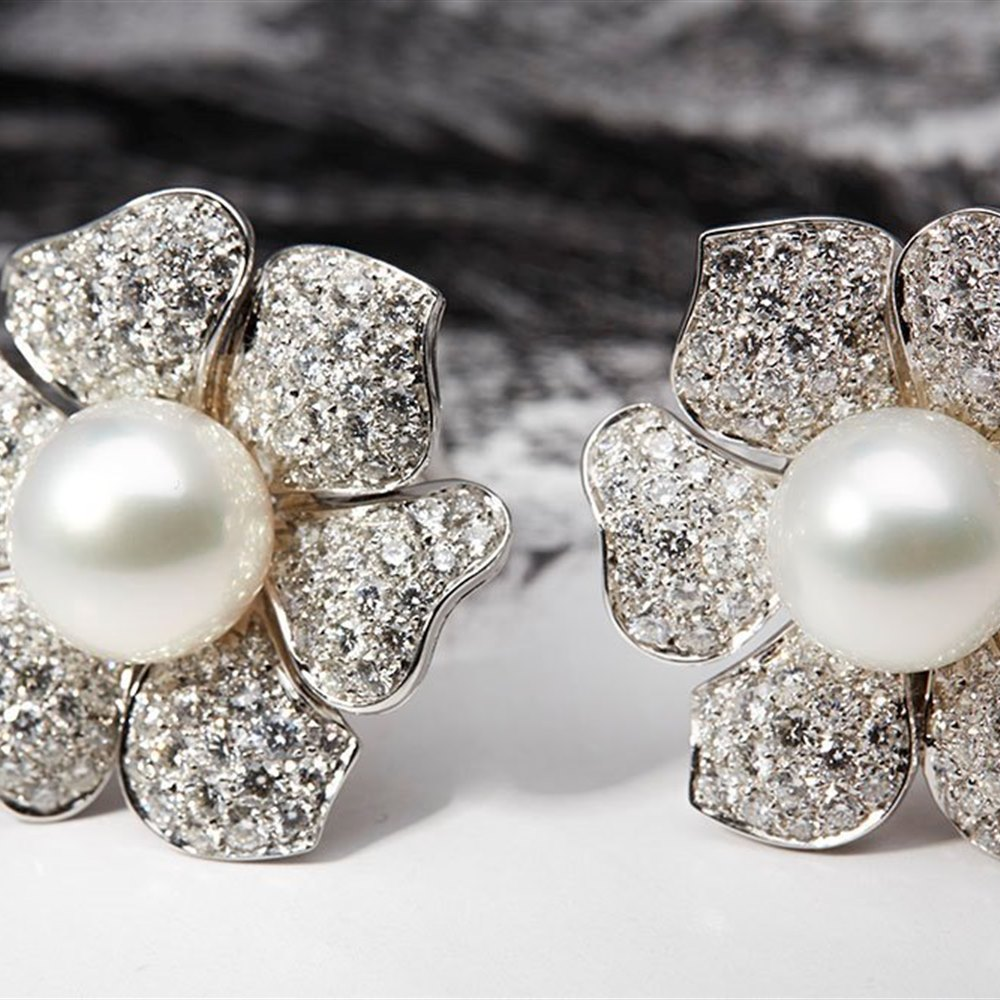 Picchiotti 18k White Gold South Sea Pearl & 7.20ct Diamond Flower Earrings