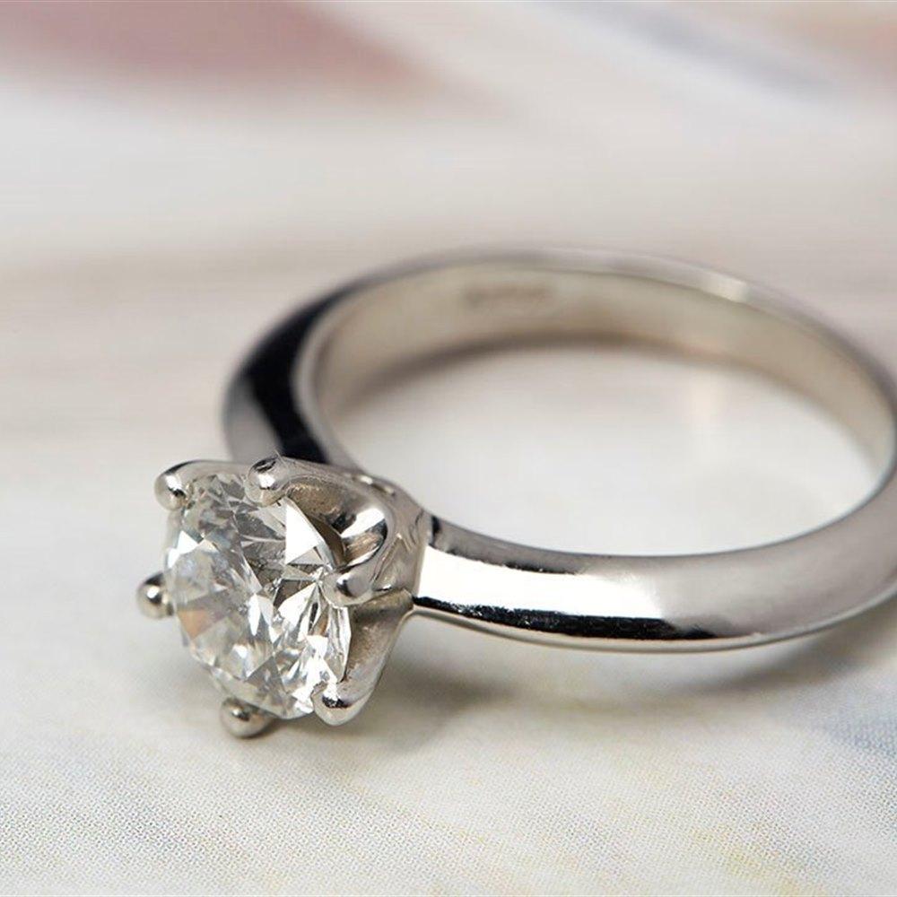 Platinum  Platinum 1.40cts SI1 I Round Brilliant Cut Solitaire GIA Diamond Ring