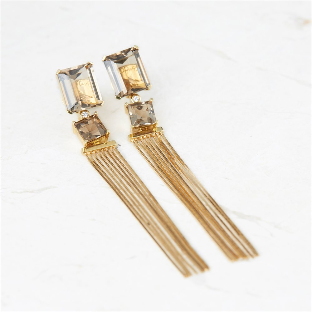 Carla Amorim 18k Yellow Gold Smoky Quartz Whisper Earrings
