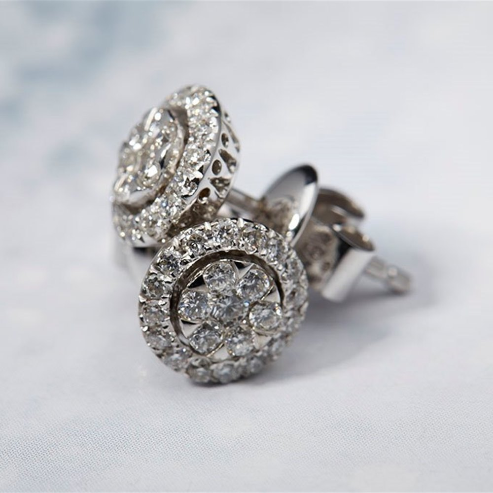 Mappin & Webb 18K White Gold 0.51cts Diamond Cluster Earrings