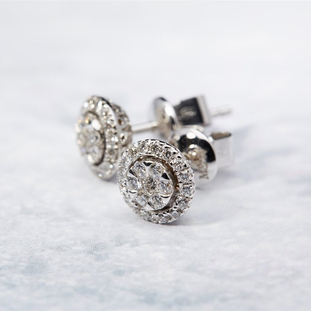 Mappin & Webb 18K White Gold 0.51cts Diamond Cluster Earrings