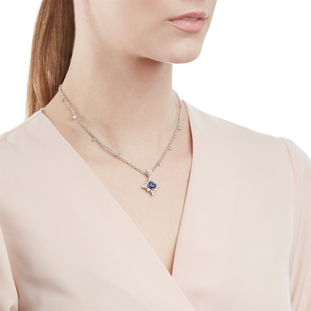Picchiotti 18k White Gold 2.00ct Sapphire & 1.49ct Diamond Necklace