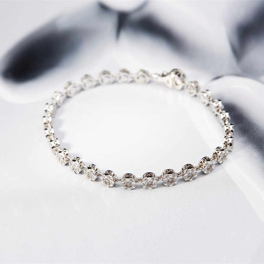 Mappin & Webb 18K White Gold VS 3.35cts Diamond Tennis Bracelet