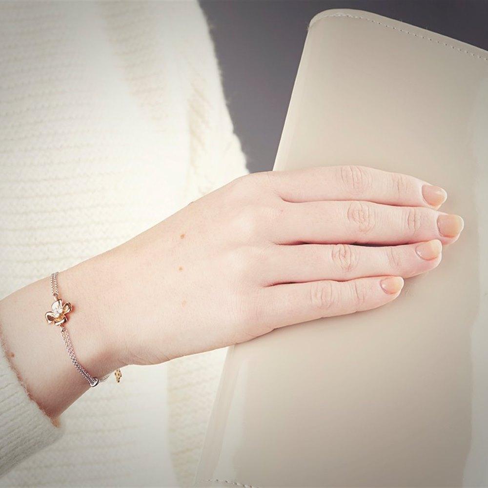 Mappin & Webb 18K White Gold and Rose Gold 0.15cts Diamond Bracelet