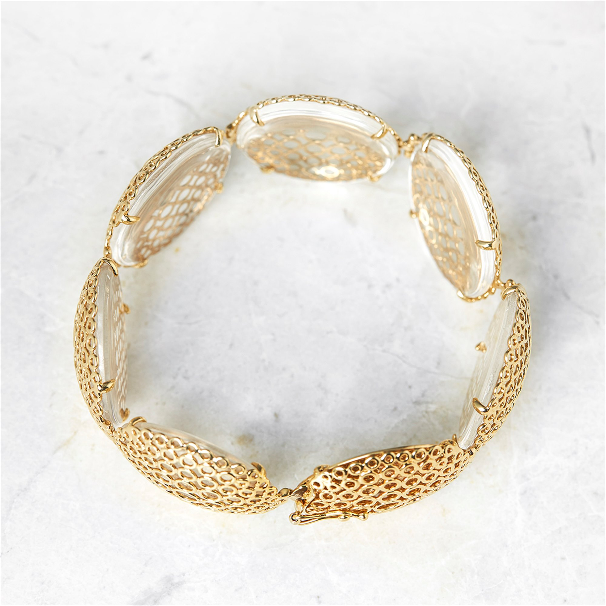 Carla Amorim 18k Yellow Gold Cabochon Clear Crystal Quartz Bracelet