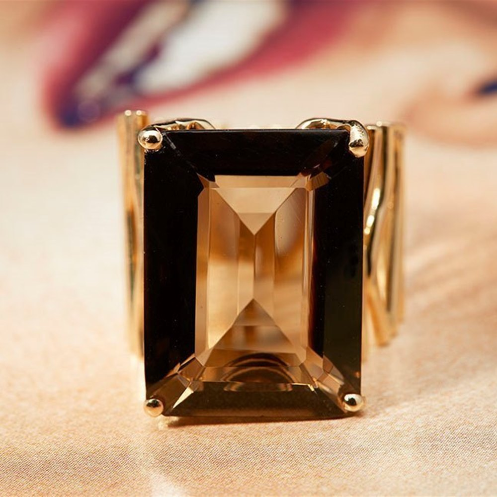Carla Amorim 18k Yellow Gold Smoky Quartz Ring Size R