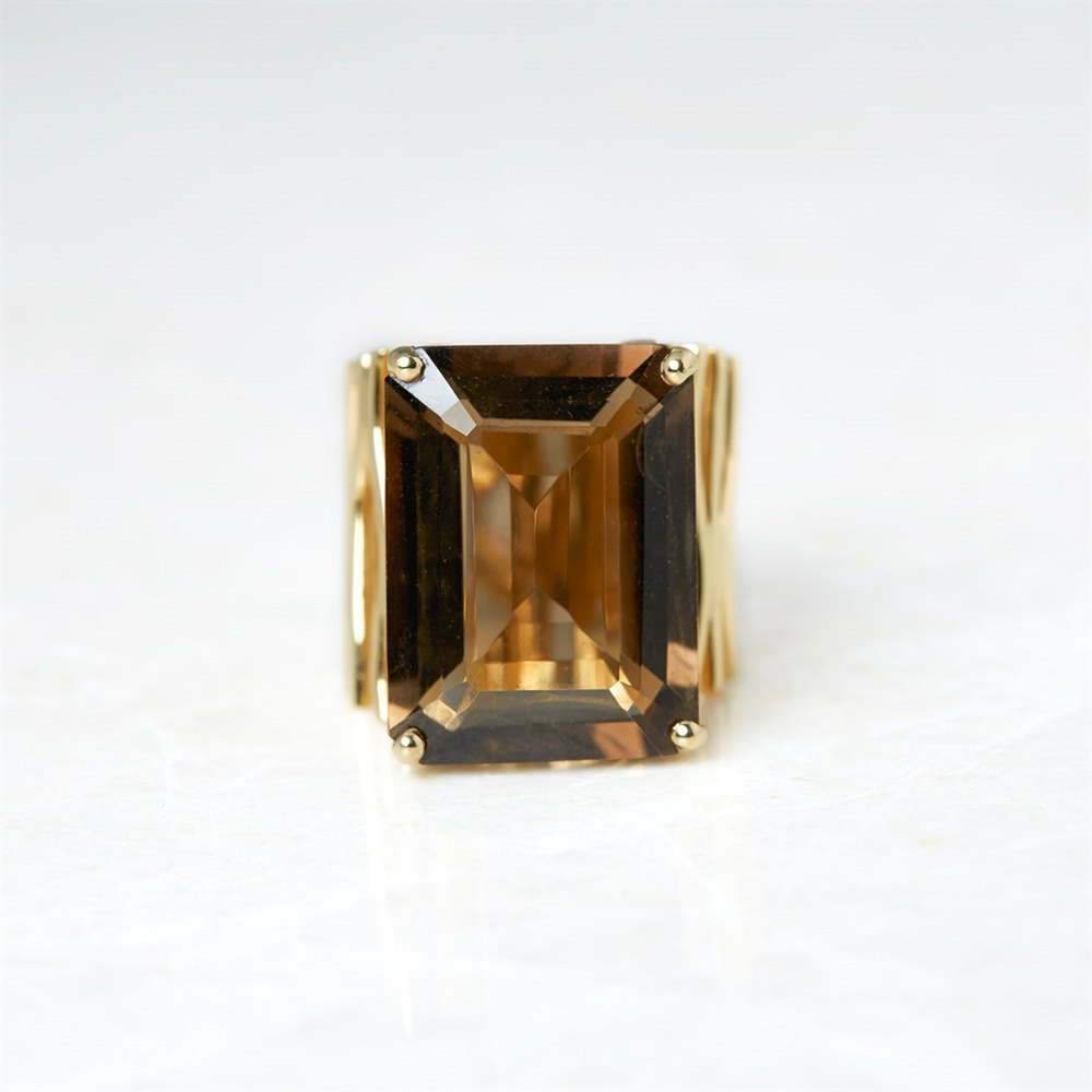 Carla Amorim 18k Yellow Gold Smoky Quartz Ring Size N
