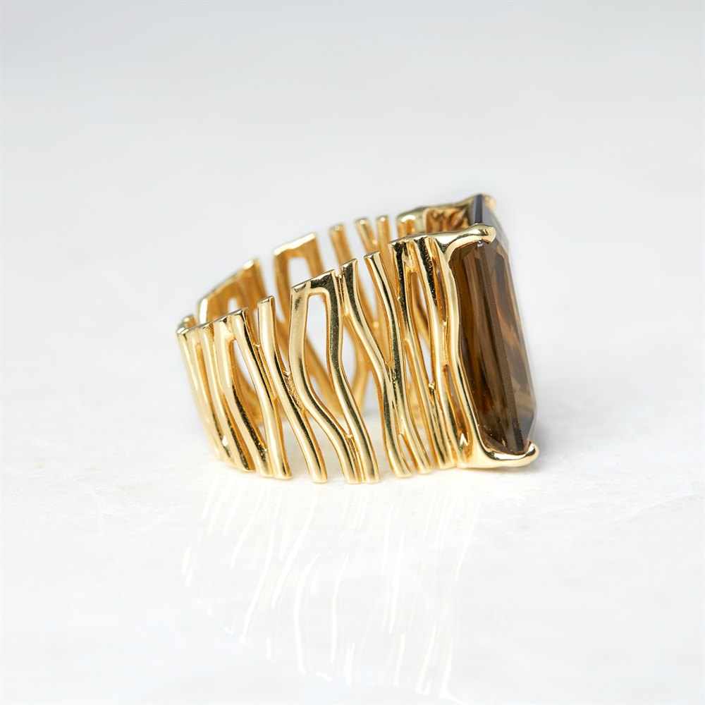 Carla Amorim 18k Yellow Gold Smoky Quartz Ring Size N