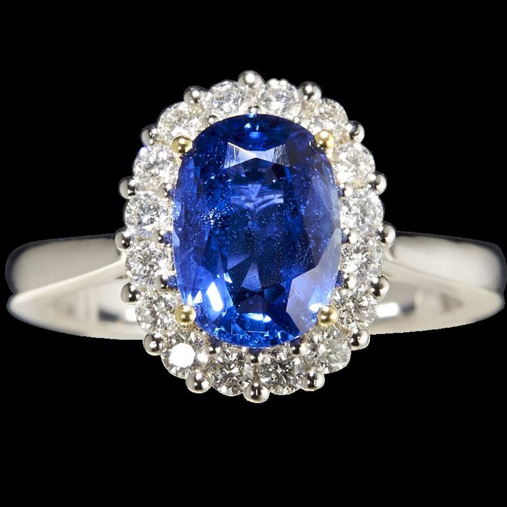 Mappin & Webb Platinum 3.17cts Oval Cut Sapphire & Diamond Ring