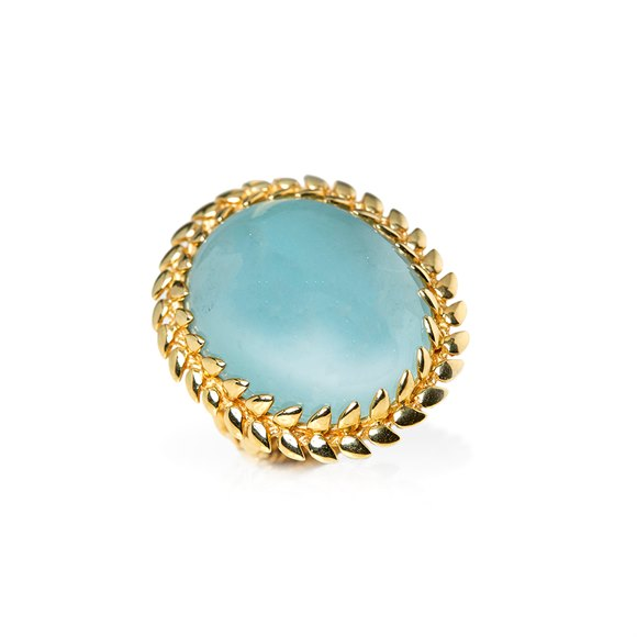 Carla Amorim 18k Yellow Gold Cabochon Aquamarine Cocktail Ring