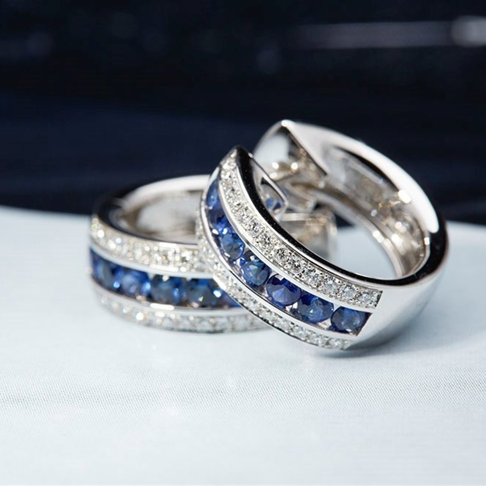 Mappin & Webb 18K White Gold 1.53cts Diamond and Sapphire Ringlet Earrings