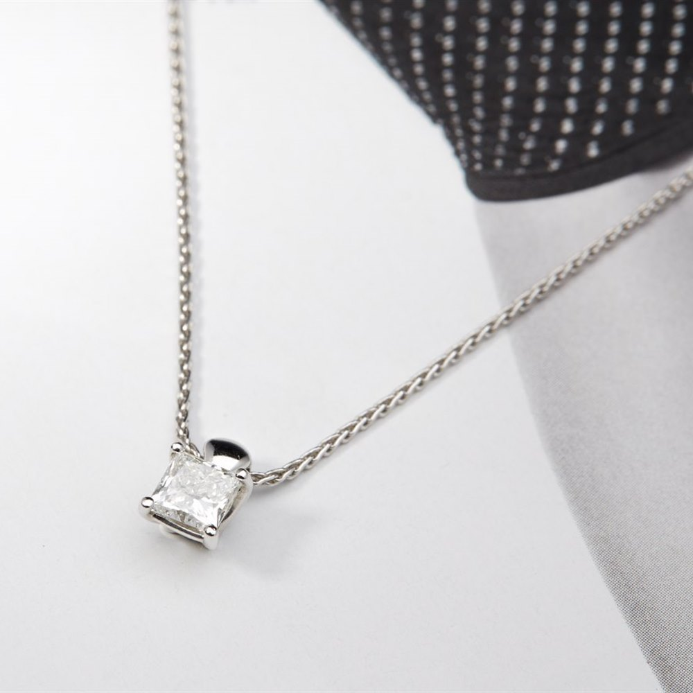 platinum diamond pendant and solitaire cut co i princess tiffany necklace