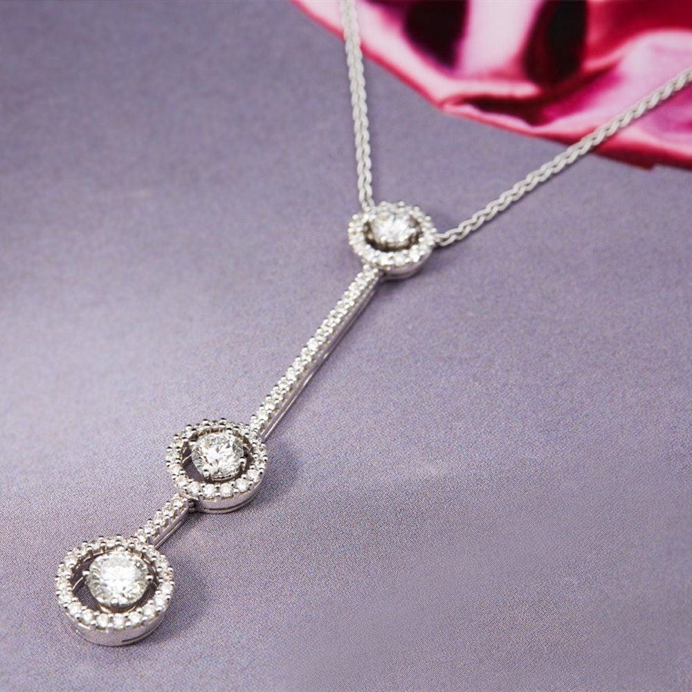 Picchiotti 18k White Gold 2.42ct Diamond Drop Necklace