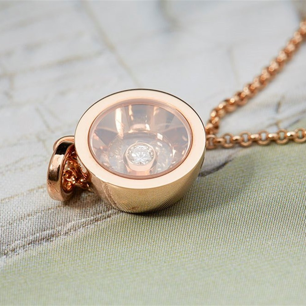 Chopard 18K Rose Gold Very Chopard Round Diamond Pendant