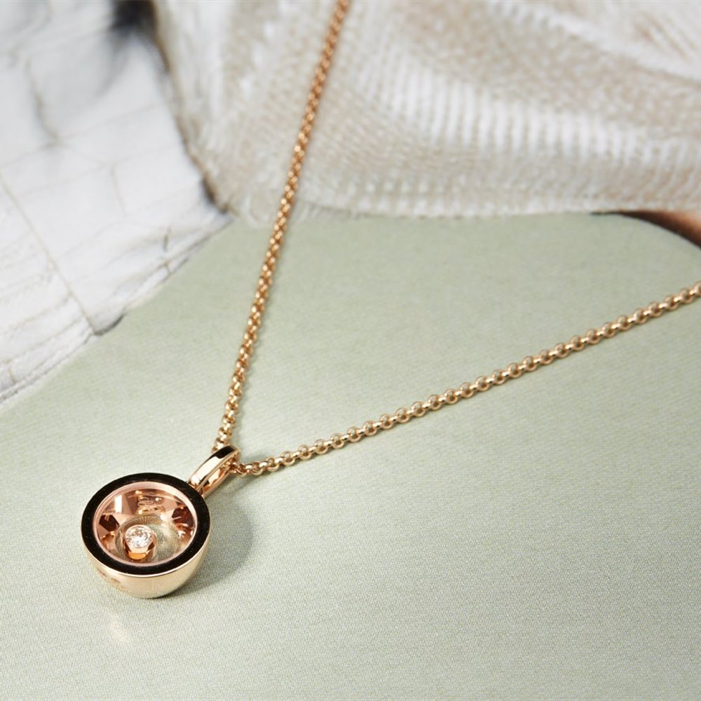 Chopard 18K Rose Gold Very Chopard Round Diamond Pendant