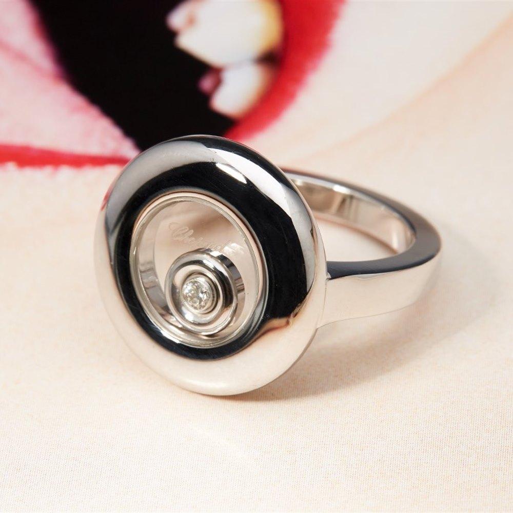 Chopard 18K White Gold Happy Diamond Chopard Round Ring