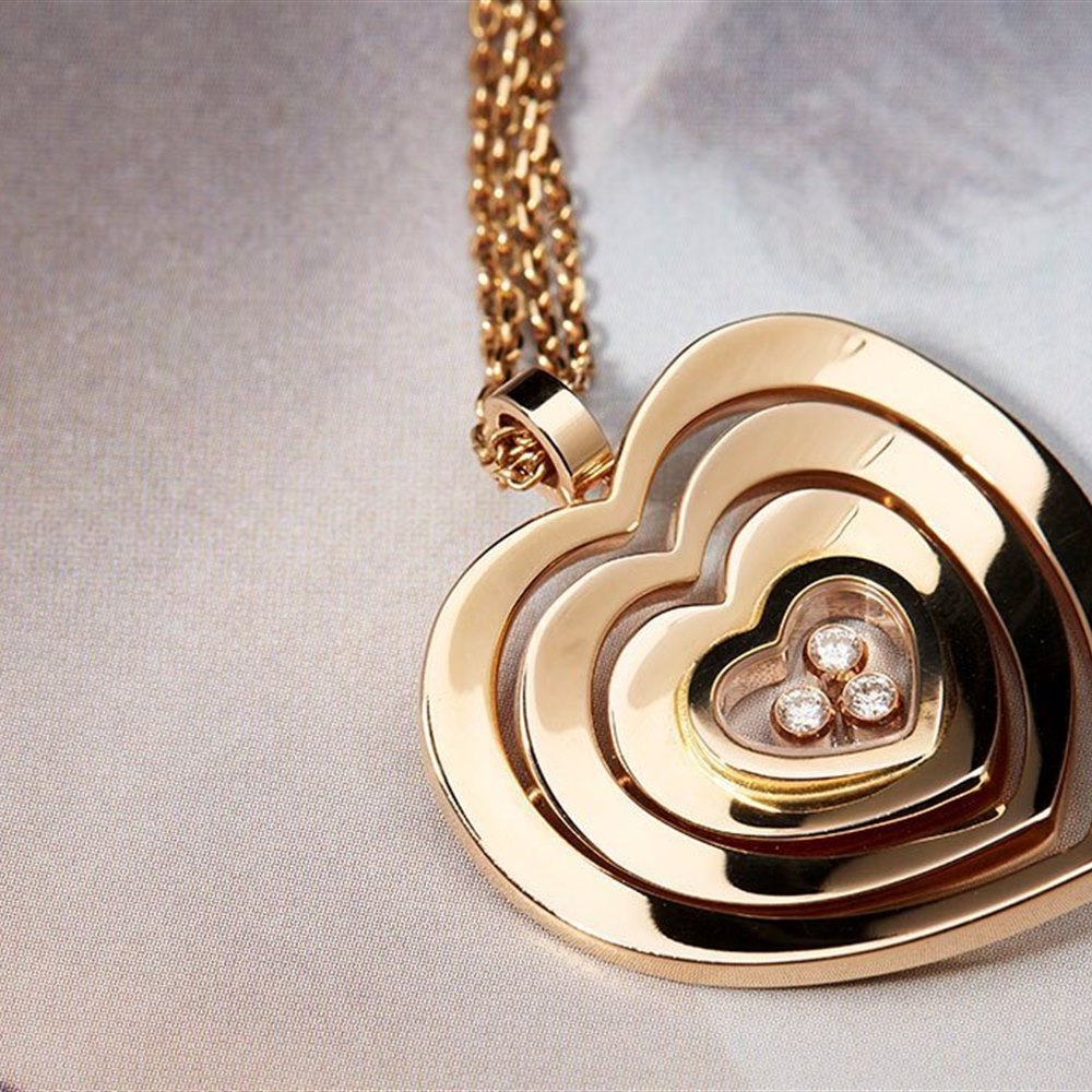 Chopard 18K Rose Gold Happy Hearts Floating Diamonds Chopard Necklace