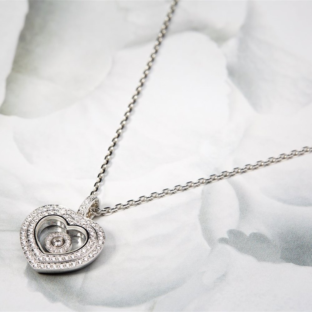 Chopard 18K White Gold Happy Hearts 0.46cts Diamonds Chopard Necklace