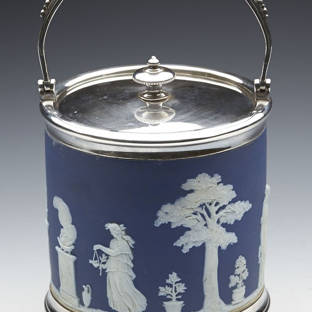 Fine Antique Wedgwood Blue Jasperware Classical Pattern Biscuit Jar c.1895