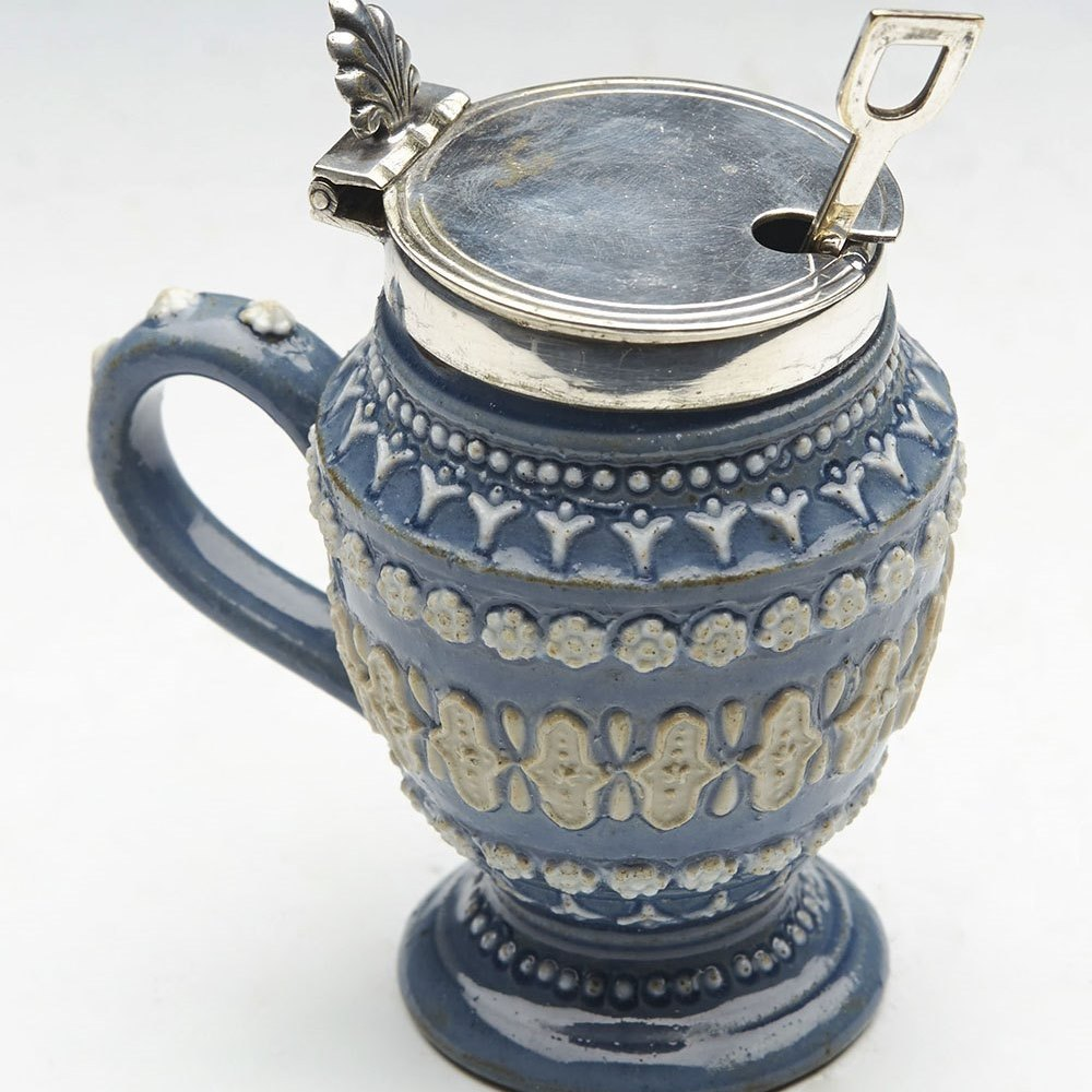 Superb Antique Doulton Lambeth Silver Mounted Handled Mustard Pot 1880