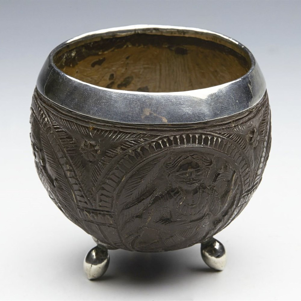 FINE ANTIQUE SOUTH EAST ASIAN CARVED FIGURAL SILVER MOUNTED COCONUT CUP 19TH C. 19th Century