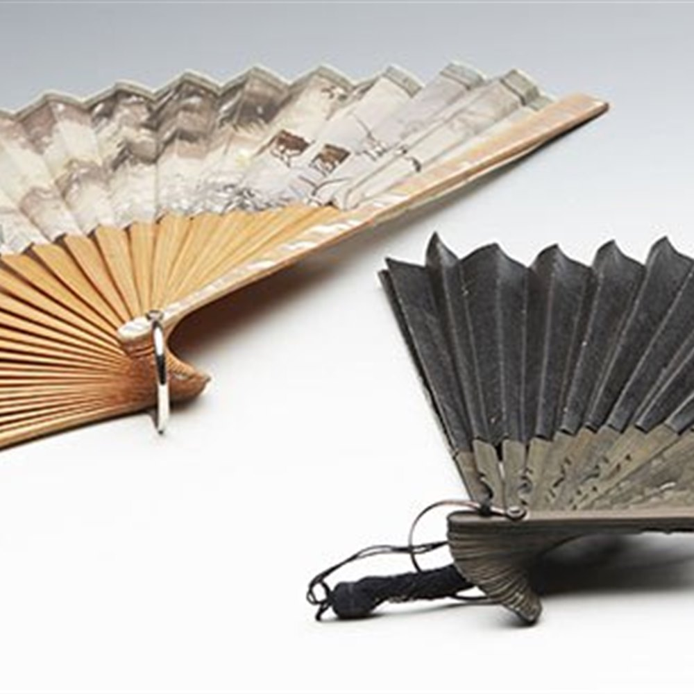 TWO VINTAGE ORIENTAL BAMBOO FANS ONE WITH PAINTED SCENE 20TH C. Believed 20th Century