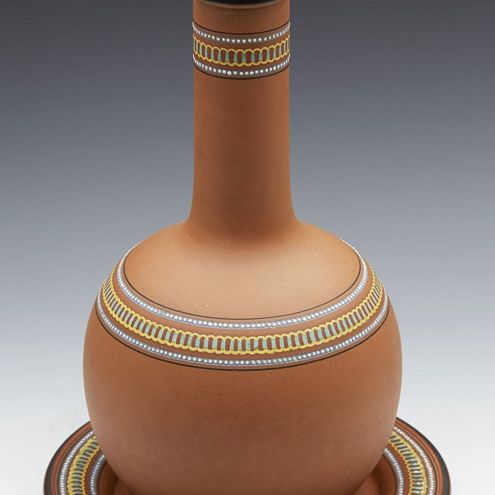 ARTS & CRAFTS WATCOMBE LIDDED CARAFE & STAND CHRISTOPHER DRESSER c.1880 Circa 1880