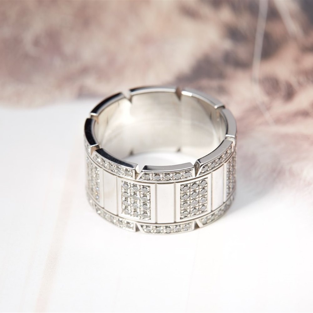 Cartier Mens 18k White Gold Tank Francaise Diamond Ring