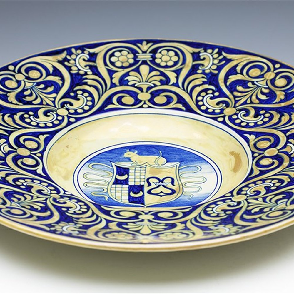 GINORI MAIOLICA DISH C.1890 Mark dating the dish between 1890 and 1896