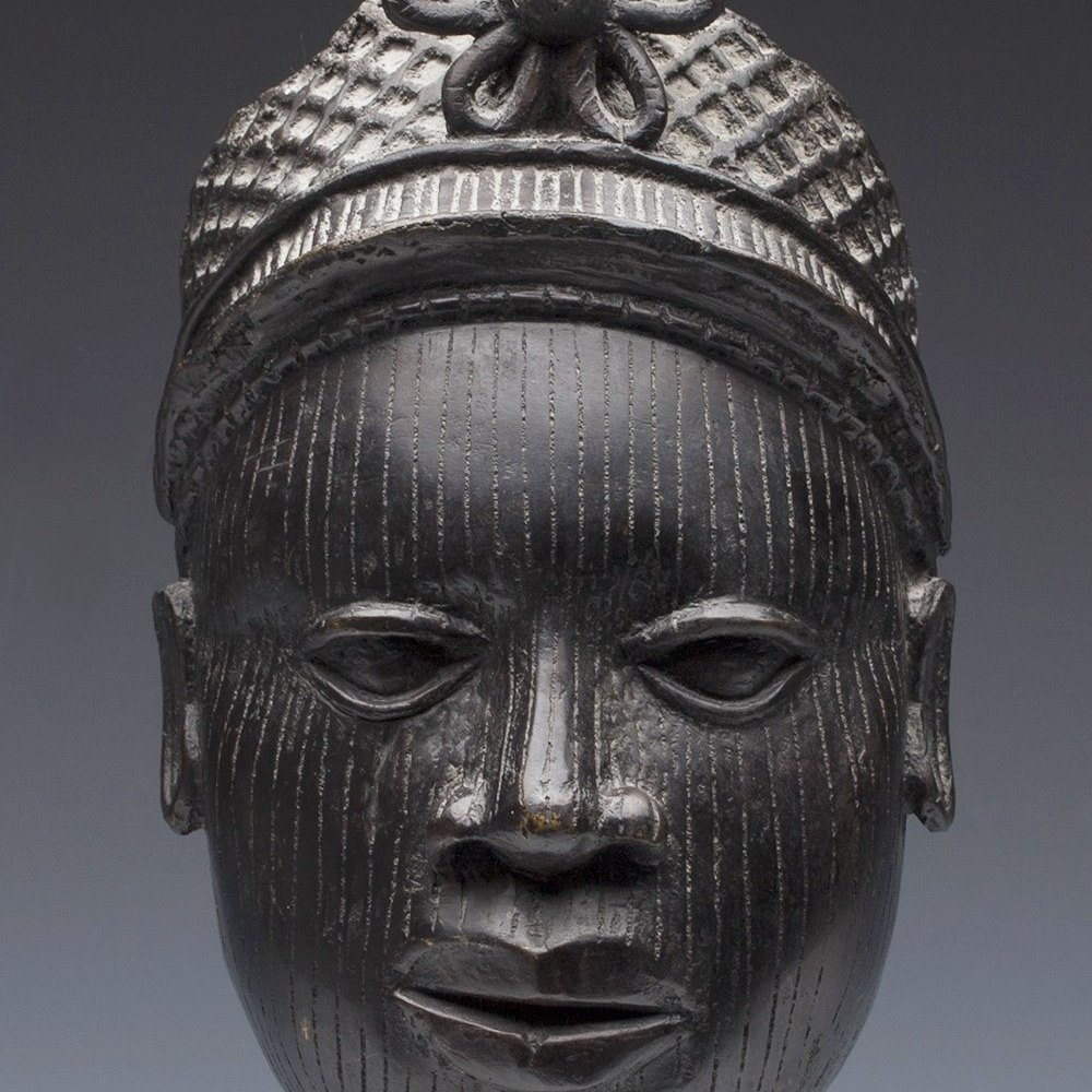 Antique/Vintage African Cast Bronze Benin Head Early 20Th C