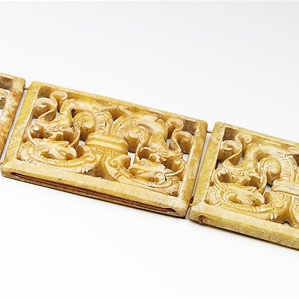 Superb Vintage Chinese Carved Hard Stone Dragon Panel Belt 20th C.