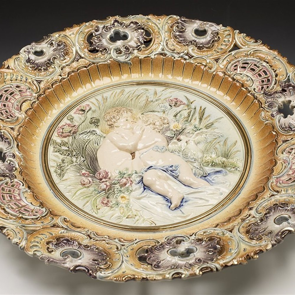 Stunning Large Antique Majolica Hugo Lonitz Charger With Putti c.1890