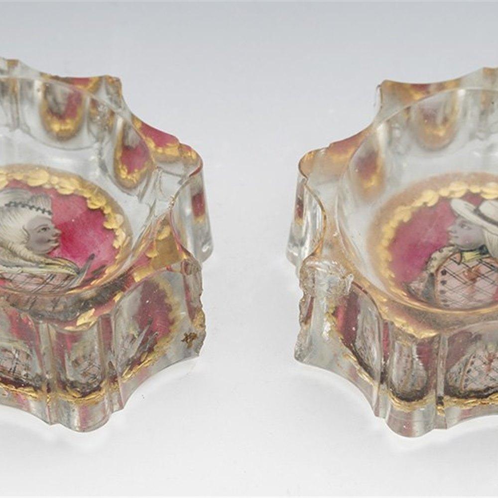 BOHEMIAN GLASS SALTS 18TH C. 18th Century