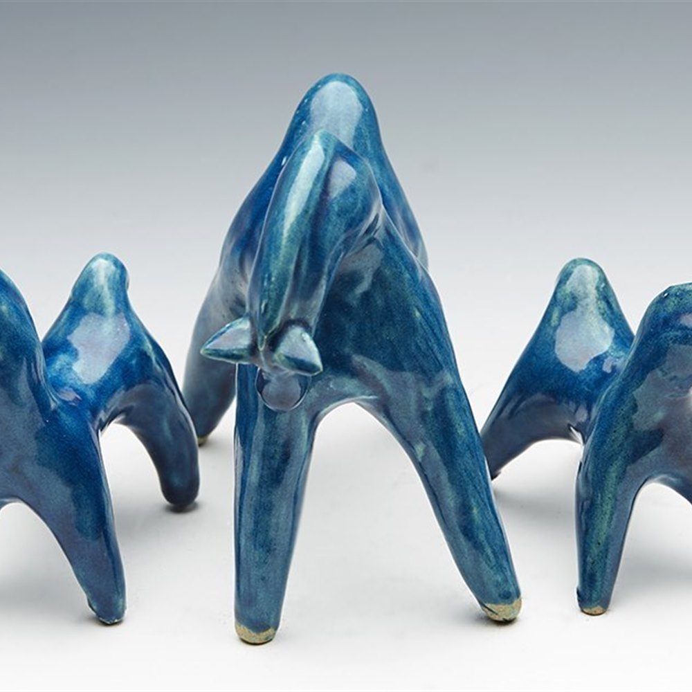 Stylish Italian Group Art Pottery Graduated Horse Figures Bitossi 20th C.