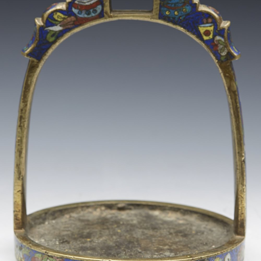 CHINESE BRONZE CLOISONNE STIRRUP Believed to date from the 19th century