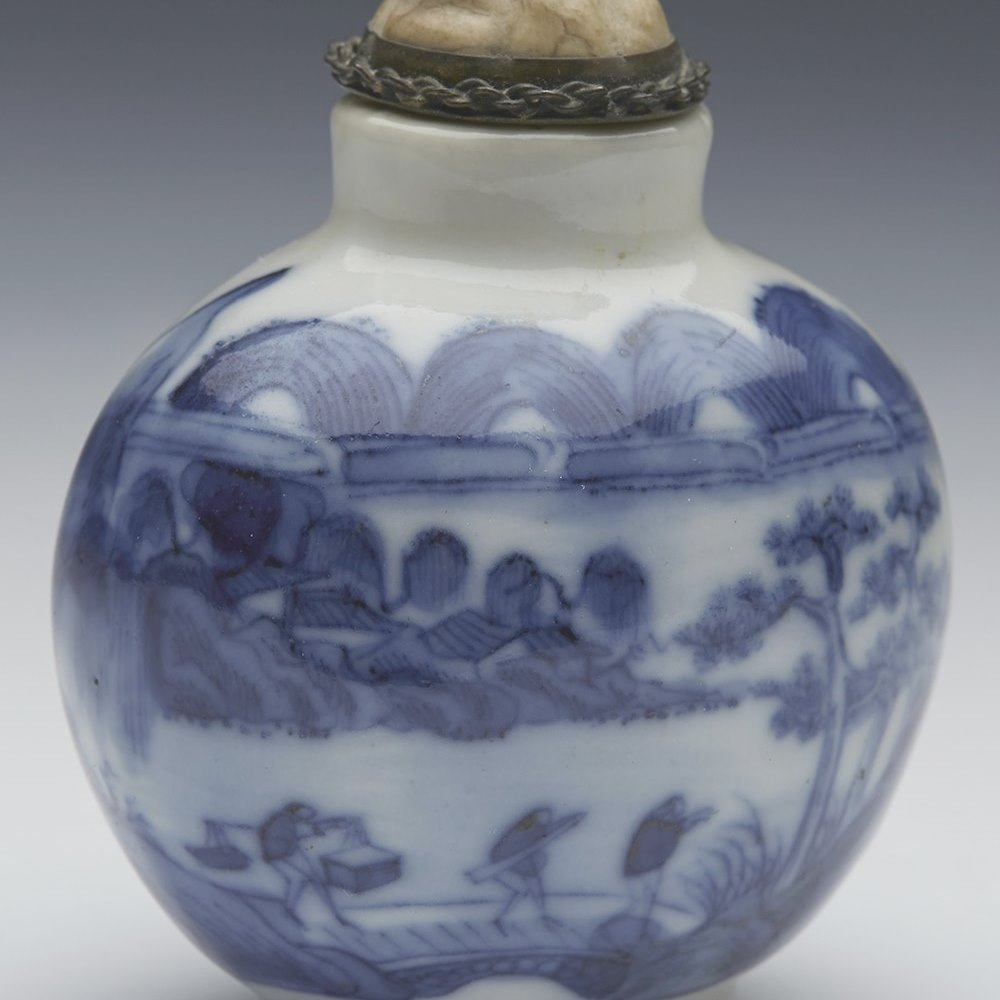 Stunning Antique Chinese Qianlong Mark Blue & White Snuff Bottle 18/19Th C.