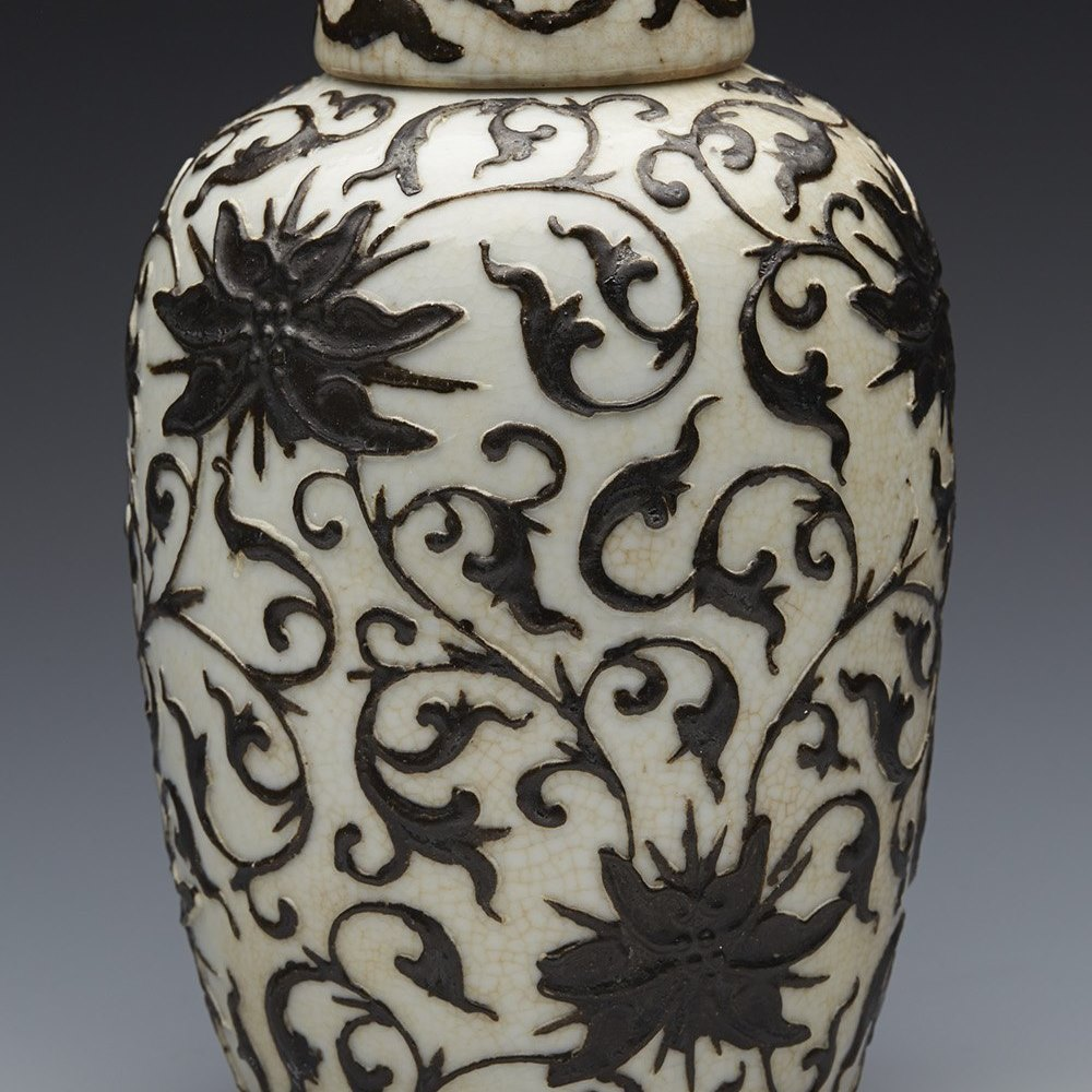 Antique Chinese Craquel Glazed Jar With Black Lotus Flower Overlay 19Th C.