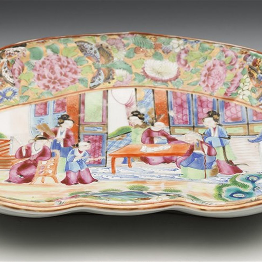 Superb Antique Chinese Qing Famille Rose Figural Kidney Shaped Dish 19Th C.