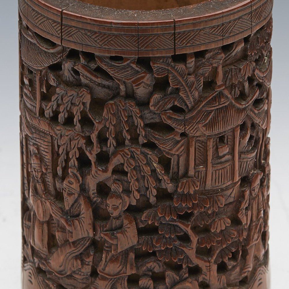Unusual Antique Chinese Qing Carved Figural Bamboo Brush Pot 19Th C.