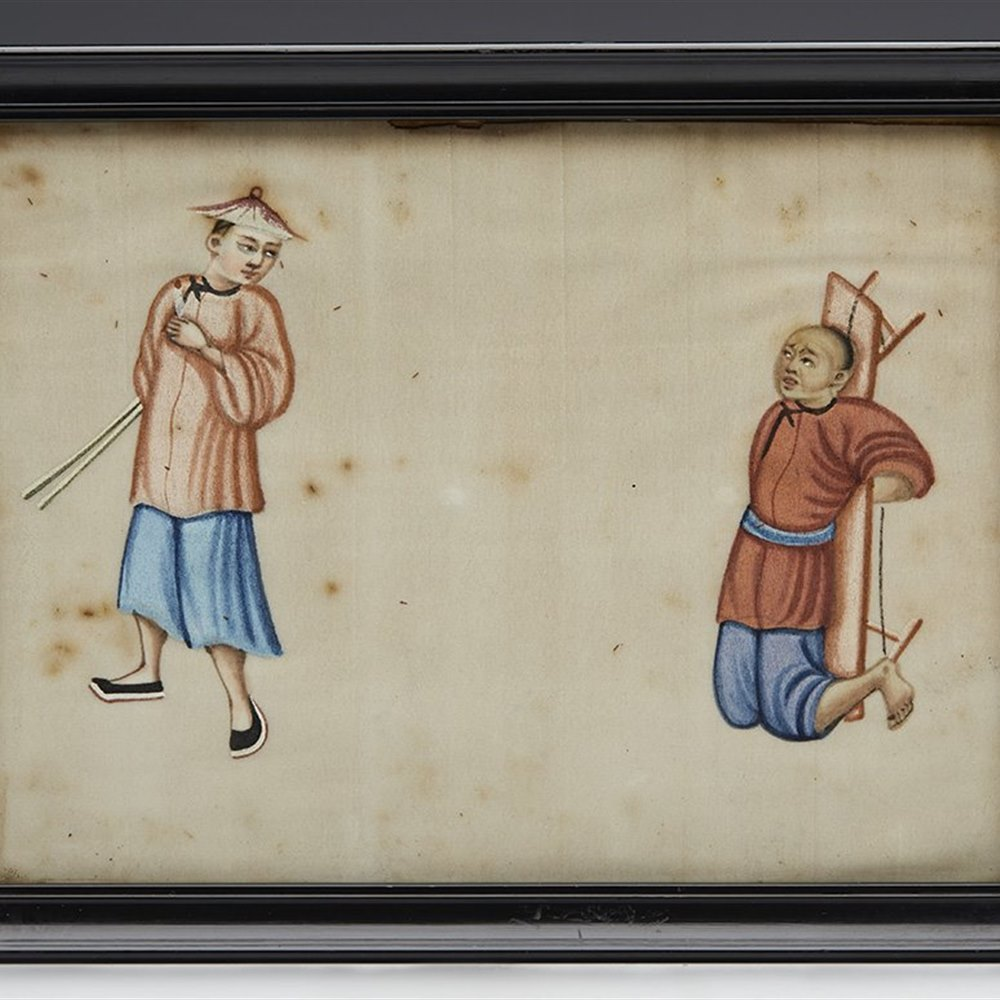 RARE ANTIQUE QING CHINESE TORTURE SCENE WATERCOLOUR ON PITH PAPER 19TH C. 19th Century Qing Dynasty