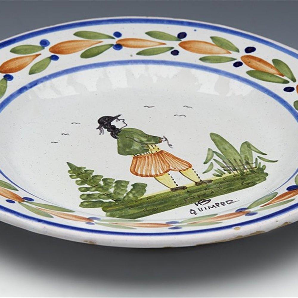 Superb Antique Henriot Quimper Faience Breton Man Plate 20th C.