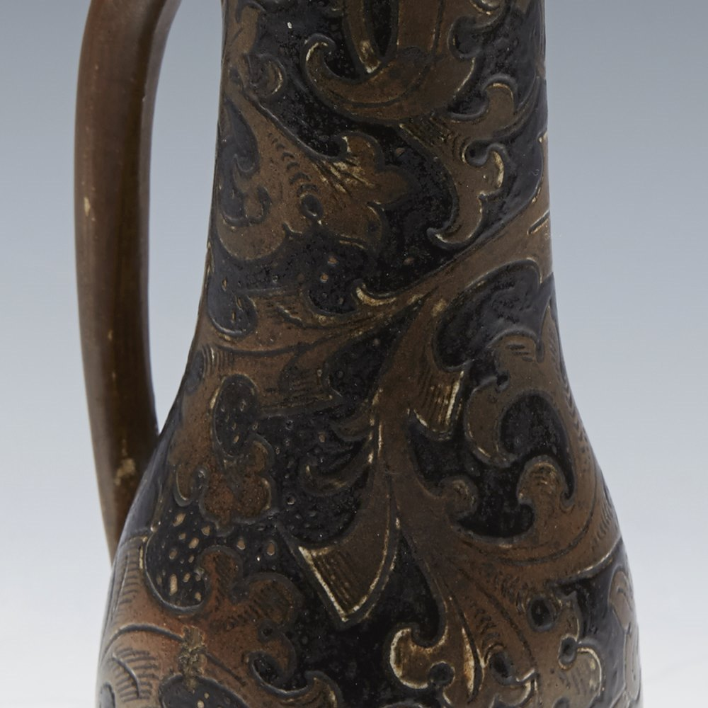 Superb Arts & Crafts Martin Brothers Jug With Scrolling Leaf Designs c.1880