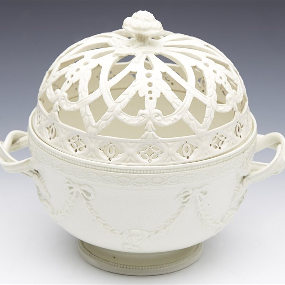 Stunning Antique Leeds Creamware Reticulated Lidded Twin Handled Basket 19th C.