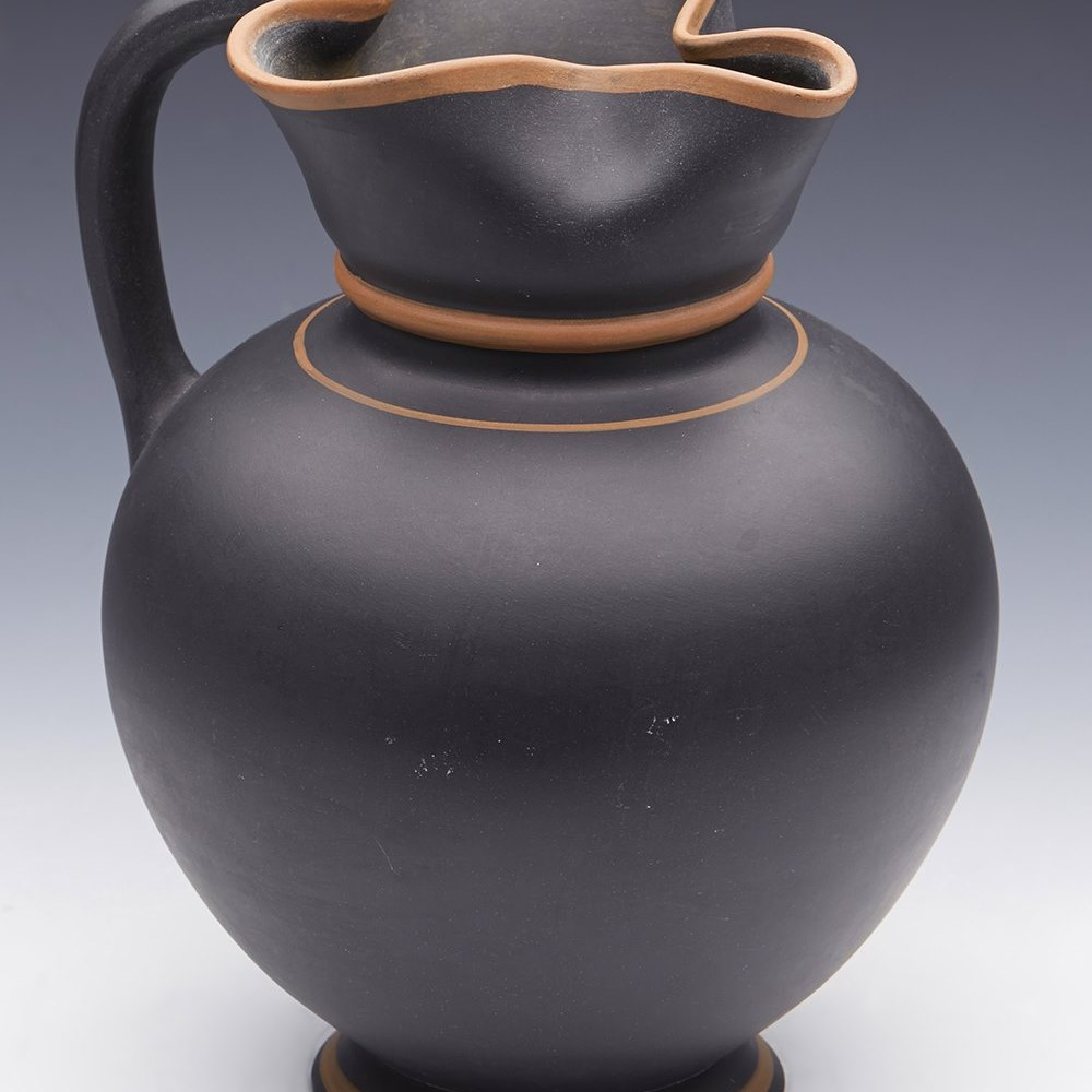 Rare Wedgwood The Egyptian Jug In Black With Rosso Painted Lines 1854